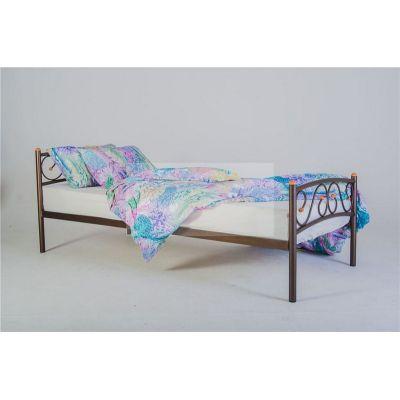 Кровать односпальная Валерия с изножьем (90х200/металлическое основание) Красный лак